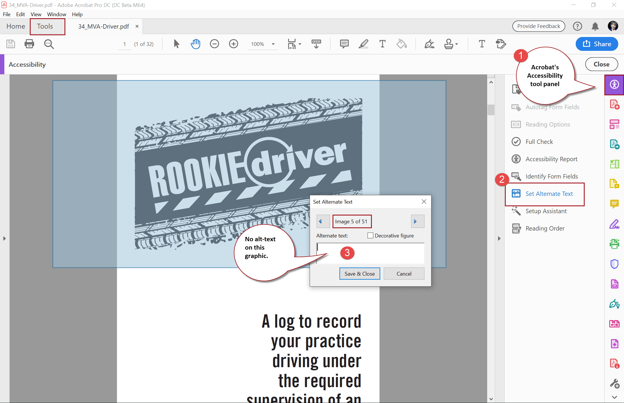 Add alt text to images in PDF file